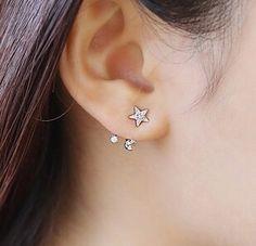 韩国代购耳钉 S925纯银星月后挂式耳钉女气质甜美耳饰韩版防过敏