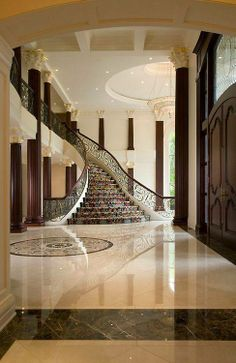35 Grand Staircase Inspiration - Space for staircase is decided based on the whole size of the house. Yes, tiling the staircase is a remarkable method to give them a great appearance. by Joey Grand Staircase, Staircase Design, Grand Foyer, Foyer Decorating, House Entrance, Entrance Halls, Entrance Ideas, Entrance Design, Main Entrance