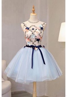 long prom dresses - Vintage Light Blue Flower Short Princess Homecoming Dress Party Dresses,Applique Bead Tulle Homecoming Mini Dress from SexyPromDress Vintage Homecoming Dresses, Cheap Party Dresses, Lace Homecoming Dresses, Dress Party, Graduation Dresses, Prom Party, Sweet 16 Dresses, Sweet Dress, Pretty Dresses