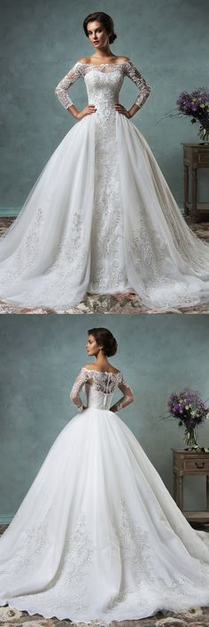 Elegant Tulle 3/4-Long Sleeve 2016 Wedding Dress Lace Appliques Ball Gown