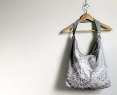 Slouch style  shoulder bag tote grey/mauve by Amayahandmade
