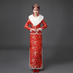 Chinese Traditional Dress Red Wedding Qipao Cheongsam Cotton Vintage Oriental Dresses Long Evening Gowns Women Robe Chinoise