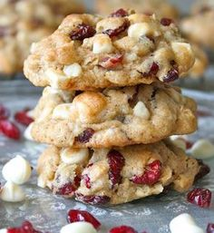 The BakerMama bakes some special oatmeal cookies that are loaded with dried cranberries, crunchy nuts and sweet white chocolate chips. They are everything a great holiday cookie should be!