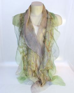 Felt Scarf-Shawl sheer cashmere-soft merino wrap on painted silk -   Cactus Peach Lilac - Reserved Custom Order