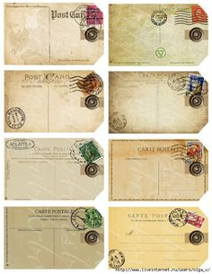 eight gift tags from antique and vintage postcards, digital collage sheets for paper crafts, crafting, inches by 4 inches -- no. via Etsy. Vintage Tags, Vintage Labels, Vintage Ephemera, Vintage Paper, Vintage Postcards, Printable Vintage, Vintage Ideas, Vintage Gifts, Vintage Style