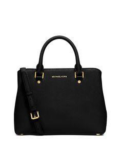 MICHAEL Michael Kors Savannah Medium Saffiano Satchel Bag, Black