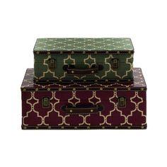 Cole & Grey Wood Vinyl Suitcase Decorative Box