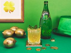 PERRIER – GOLDEN LASS You don't have to find the end of the rainbow to find this glass of gold. All you need is PERRIER and these delicious ingredients: