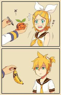 Kaito: look at this Rin.  Rin: what i-- AHHH WHAT THE HELL??!!! Kaito: Len check this out.  Len: ...... What is wrong with you Kaito?