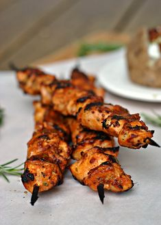 Garlic-Mustard Glazed Chicken Skewers recipe