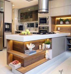 27 veces he visto estas lindas cocinas con isla. Best Living Room Design, Kitchen Room Design, Modern Kitchen Design, Home Decor Kitchen, Kitchen Furniture, New Kitchen, Interior Design Living Room, Home Design Decor, Küchen Design