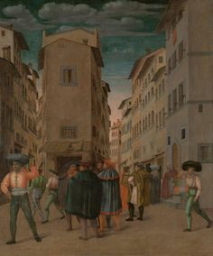 Florentine Street Scene with Twelve Figures (Sheltering the Traveler, one of the Seven Works of Mercy), anonymous, 1540 - 1560 - Rijksmuseum Italian Paintings, Easy Paintings, Works Of Mercy, Virtual Museum, 16th Century, Middle Ages, Find Art, Framed Artwork, Florence