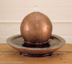Fountains: Copper Tabletop Sphere Fountain