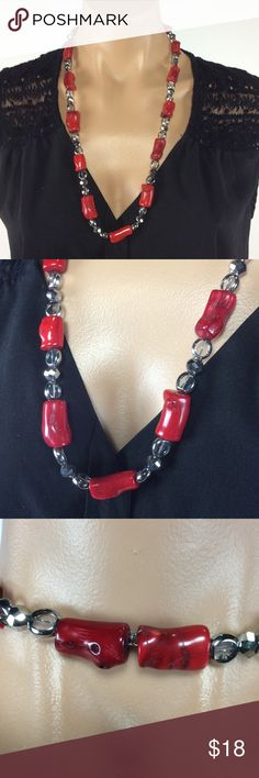 Gorgeous red and Silver Necklace This was made for me from a good friend. It looks so expensive. But I have no clue. There is no clasp. It just goes right over your head. 🌺 Bundle 3 or more items and save 20% 🌺 Any questions let me know. Jewelry Necklaces