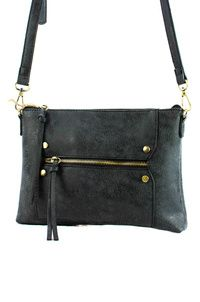 Solid Studs And Zipper Pull Clutch With Strap
