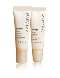 This season's beauty must? Kissable lips!    Lip Mask buffs away dry skin.  Lip Balm moisturizes lips to help keep them feeling soft.    Satin Lips® Set (Mask and Balm)