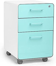Poppin White + Aqua Stow Rolling 3-Drawer File Cabinet