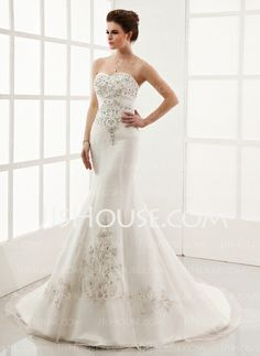 Wedding Dresses - $250.49 - Mermaid Sweetheart Chapel Train Organza Satin Wedding Dress With Embroidery Beadwork (002000554) http://jjshouse.com/Mermaid-Sweetheart-Chapel-Train-Organza-Satin-Wedding-Dress-With-Embroidery-Beadwork-002000554-g554