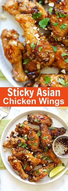 Sticky Asian Chicken Wings – amazing chicken wings coated with savory, sweet and sticky honey garlic chili glaze. BEST Asian chicken wings recipe ever | rasamalaysia.com
