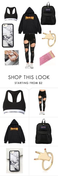"""Every basic girl at my school//it's kinda cute tbh"" by aadkinsbcvc ❤ liked on Polyvore featuring Calvin Klein, JanSport and Wildflower"