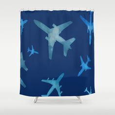 Society6 Airplane+mix+Shower+Curtain+by+Jody+Edwards+Art+-+$68.00