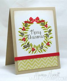 Winter Wreath Card with Chevron Pattern Paper
