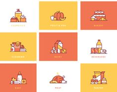 A collection of icon-scenes, various categories for an online supermaket.