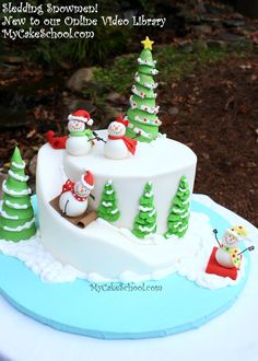 Sledding Snowmen Video!  Sweet online video tutorial for MyCakeSchool.com members ;0)