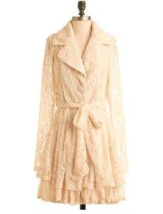 vestido casaco em renda