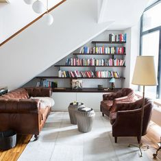 The weekend is supposed to be rainy. The perfect time to retreat to a cosy library and relax with a book . photo by Chesterfield Sofa, Bookshelves, Cosy, Custom Made, Relax, Interiors, Interior Design, Architecture, Instagram