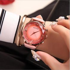 GUOU Watch Women Top Luxury Fashion Quartz Watch Ladies Wristwatch Genuine Leather Diamond Women Watches saat relogio feminino Outfit Accessories From Touchy Style Cheap Watches, Cool Watches, Watches For Men, Wrist Watches, Stylish Watches For Girls, Simple Watches, Unique Watches, Silver Pocket Watch, Swiss Army Watches