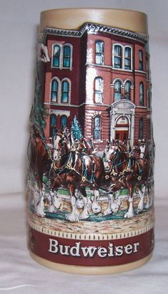 Budweiser Steins  | Budweiser Stein Historical Landmark Old by RockingChairAntiques