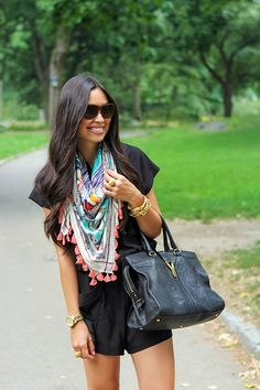 Black romper, fun scarf..