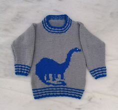Dinosaur Child's Sweater and Hat - Brontosaurus - Knitting Pattern, Aran Dinosaur Jumper and Hat Knitting Pattern, Dino Knitting Pattern Baby Boy Knitting Patterns, Baby Sweater Knitting Pattern, Knit Baby Sweaters, Boys Sweaters, Knitting For Kids, Crochet For Kids, Baby Knitting, Baby Knits, Free Knitting