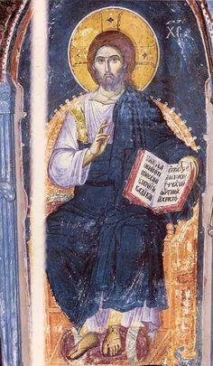 Fresco of Christ by Manuel Panselinos. Byzantine Icons, Byzantine Art, Religious Icons, Religious Art, Fresco, Christ Pantocrator, Anima Christi, Lion Of Judah, Catholic Art