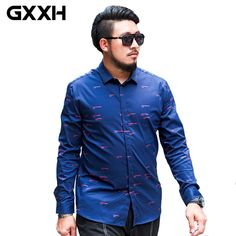 7dcb162635f Brand Clothing GXXH Shirt 2017 Long Sleeve Top Quality Plus Size Loose  Men s Shirt Spring and Autumn Big and Tall Oversized Blue