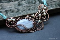 Wire wrap necklace, Wire wrapped jewelry, handmade,copper necklace, agate necklace,blue white