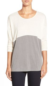 Free shipping and returns on Pleione ColorblockTee (Regular & Petite) at Nordstrom.com. A relaxed, three-quarter-sleeve tee combines two trends in one look: mixed-media design and color-blocked styling. A semi-sheer slubbed knit at the top half lends lightweight texture, while smoothjersey at the bottom makes a soft finish.