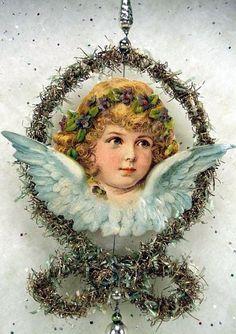 Victorian Tinsel and Scrap Ornament.