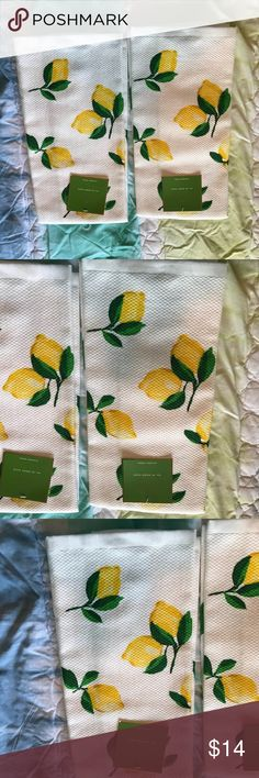 Kate Spade Kate spade multi kitchen towels in make lemonade 17x 28 they are nwt I never used them no issues purchased at dillards . Listing is for the both of them . No trades I do take offers and bundle Kate spade Accessories