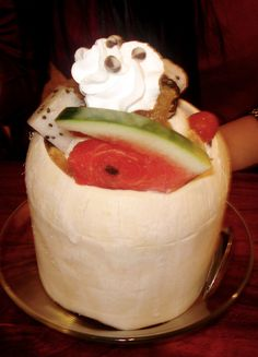 Fruit Salad ice cream in coconut shell  from one of Vietnam's restaurant