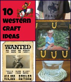 Western Craft Ideas to use for a Western Party or event! Kid friendly ideas! Easy to do and fun to make! Cost friendly, too!