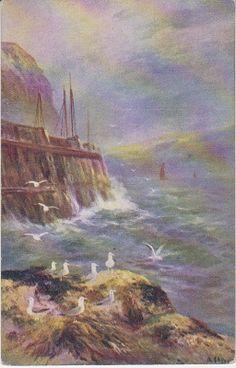 A Vivian Mansell Postcard - Seashore with Seagulls  - 1120