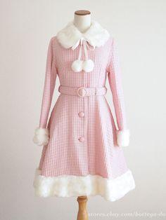 c179c9491 MAM MAXICIMAM Fur Tweed Ribbon Wool Coat Pompon HIME Lolita Kawaii Japan  SizeF #MAMMAXICIMAM #
