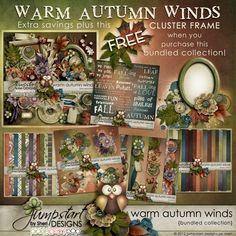 Warm Autumn Winds ~ Bundled Collection ~ by Jumpstart Designs Digital scrapbook kits $
