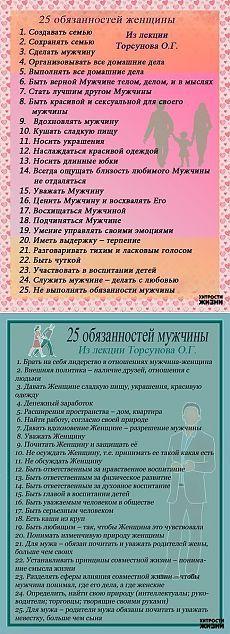 25 обязанностей женщин и мужчин из лекций Торсунова О.Г..