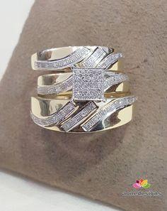 Yellow Gold FN His & Her Trio Round Cut Diamond Matching Bridal Wedding Ring Set #Aonedesigns #EngagementAnniversaryWeddingRingSet
