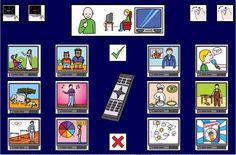 """""""Tablero de comunicación: televisión"""". Recopilación de diferentes tableros de comunicación de 12 casillas, organizados por necesidades básicas y centros de interés. Los tableros pueden imprimirse tal como aparecen en los documentos o bien se puede modificar el contenido, la forma, el color, etc., para adaptarlos a las características individuales de cada usuario. Pueden utilizarse también para trabajar distintos repertorios de vocabulario agrupado por temas o categorías."""
