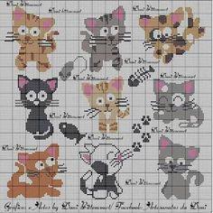 Картинки по запросу gatinhos em ponto cruz