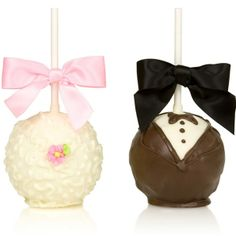 Bride and Groom caramel and chocolate apple favors